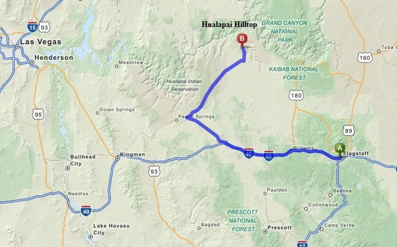 Map to Hualapai Hilltop